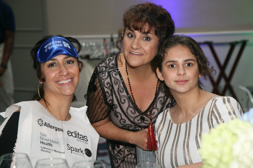 Dining In The Dark with Sofia Priebe, the non-profit's namesake (on the right) and her mother Laura Manfre (on the left), co-founder of Sofia Sees Hope