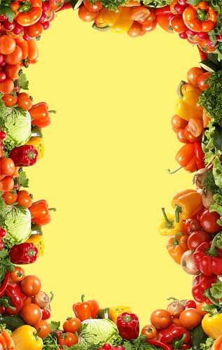yellow background with veggies framing
